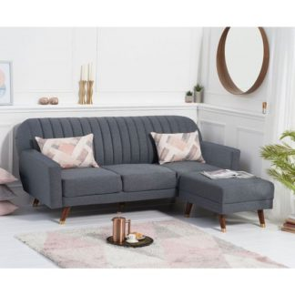 An Image of Corwin Linen Sofa Bed In Grey With Angled Solid Wood Feet