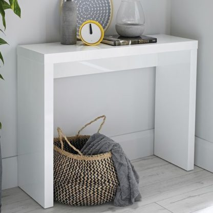 An Image of Curio Modern Console Table Rectangular In White High Gloss