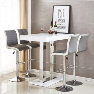 An Image of Caprice Bar Table In White High Gloss With 4 Ritz Grey Stools