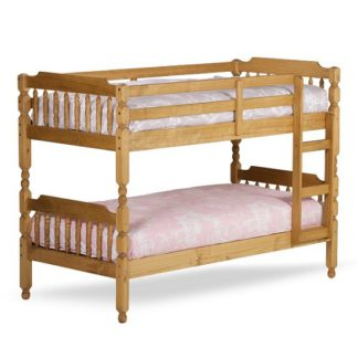 An Image of Colonial Wooden Single Bunk Bed In Waxed Pine