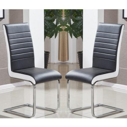 An Image of Symphony Dining Chair In Black And White PU In A Pair