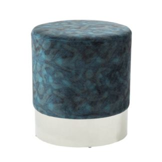An Image of Aix Stool In Peacock Blue Velvet And Polished Stainless Steel
