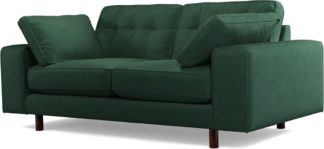 An Image of Content by Terence Conran Tobias, 2 Seater Sofa, Plush Hunter Green Velvet, Dark Wood Leg