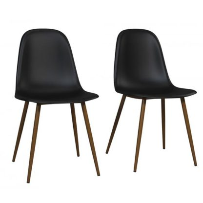 An Image of Copley Black Plastic Dining Chairs In Pair