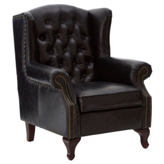 An Image of Sadalmelik Leather Scroll Armchair In Black