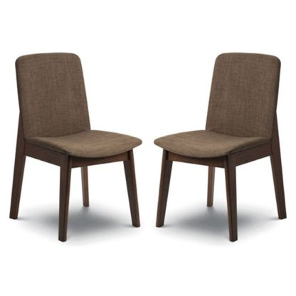 An Image of Kensington Walnut Fabric Dining Chair In Pair