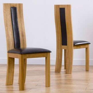 An Image of Marila Dining Chair In Brown PU With Solid Oak Frame In A Pair