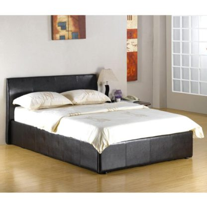 An Image of Fusion Faux Leather 4 Foot Storage Bed In Black