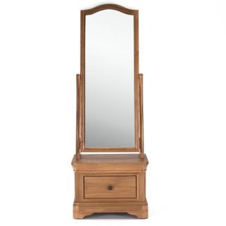 An Image of Frank Cheval Mirror In Natural Oak Frame With Drawer