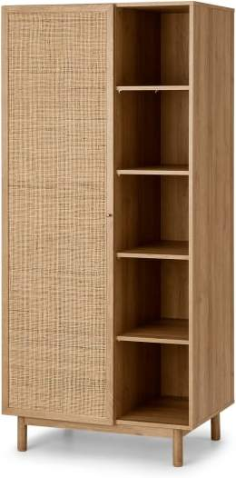 An Image of Pavia Double Wardrobe, Natural Rattan & Oak Effect