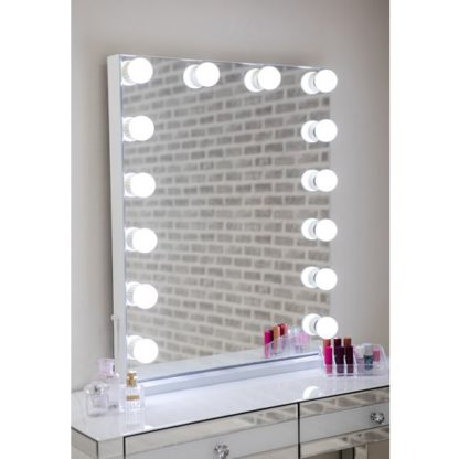 An Image of Hollywood Portrait Dressing Mirror With White High Gloss Frame