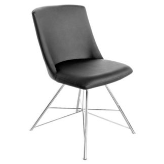 An Image of Bexley Black Leather Dining Chair With Slick Metal Frame