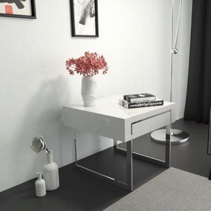 An Image of Casa Side Table In White Gloss With Chrome Legs And Drawer