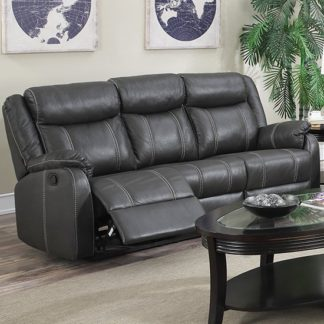 An Image of Leeds LeatherLux And PU Recliner 3 Seater Sofa In Gun Metal