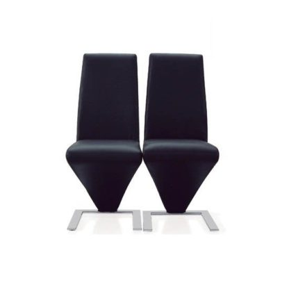 An Image of Demi Z Dining Chairs In Black Faux Leather in A Pair