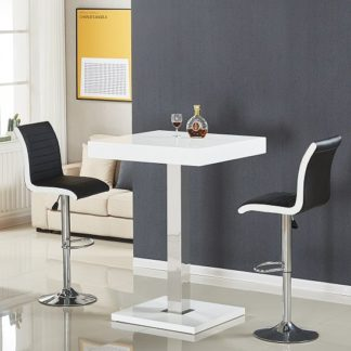 An Image of Topaz Bar Table In White High Gloss With 2 Ritz Black Stools