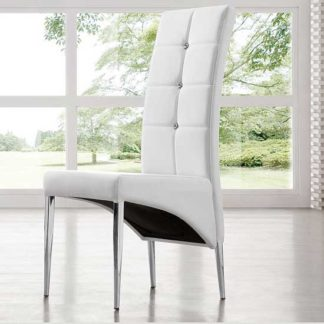 An Image of Vesta Studded Faux Leather Dining Room Chair in White