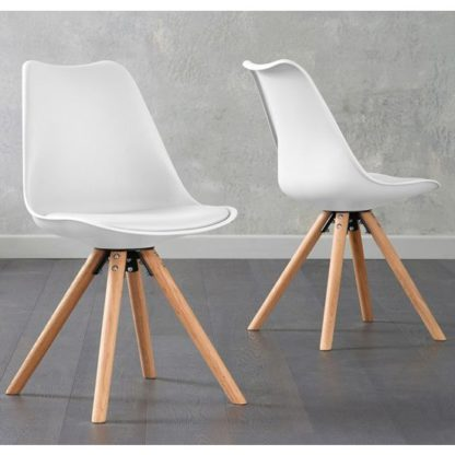 An Image of Tupa White Faux Leather Chairs In Pair With Round Leg