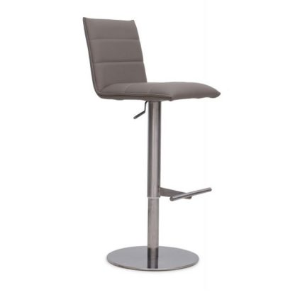An Image of Verlo Bar Stool In Taupe PU With Brushed Stainless Steel Base