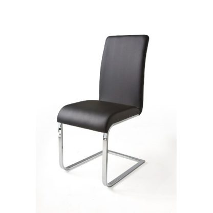 An Image of Lotte I Metal Swinging Black Faux Leather Dining Chair
