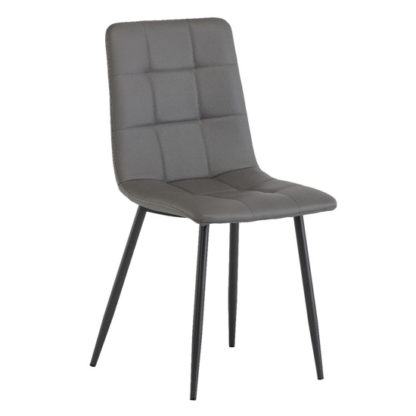 An Image of Virgo Faux Leather Dining Chair In Grey