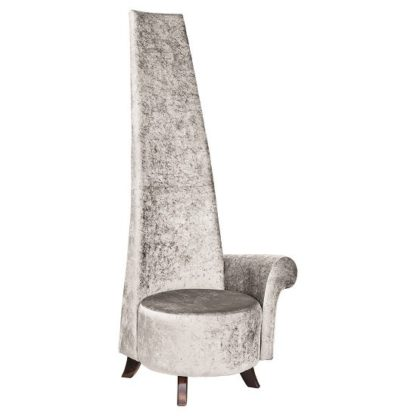 An Image of Ergo Potenza Chair In Silver Crush Fabric With Wooden Feet