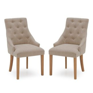 An Image of Vanille Linen Dining Chair In Beige With Oak Legs In A Pair