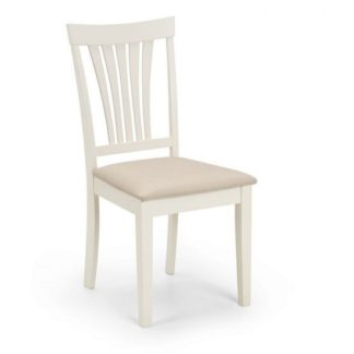 An Image of Cameo Dining Chair In Taupe Linen Effect Seat With Ivory Finish