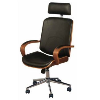 An Image of Loire Office Chair In Black Faux Leather With Walnut Frame