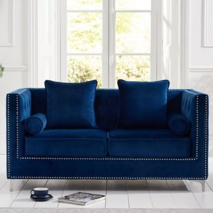 An Image of Mulberry Modern Fabric 2 Seater Sofa In Blue Velvet