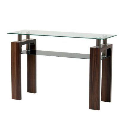 An Image of Tetro Glass Console Table Rectangular In Clear With Walnut Legs