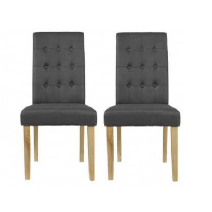 An Image of Heskin Dining Chair In Grey Linen Style Fabric in A Pair