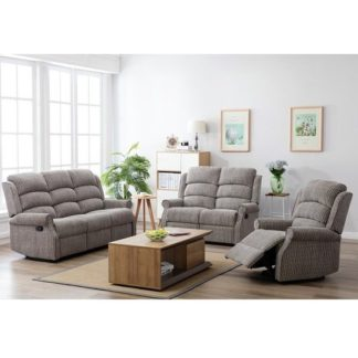 An Image of Curtis Fabric Recliner Sofa Suite In Latte