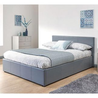 An Image of End Lift Ottoman Double Bed In Grey