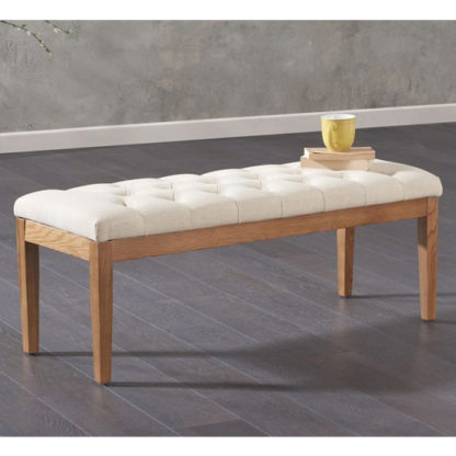 An Image of Absolutno Fabric Small Dining Bench In Beige