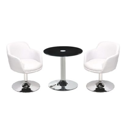 An Image of Belize Glass Bistro Table In Black And 2 White Bucketeer Chairs