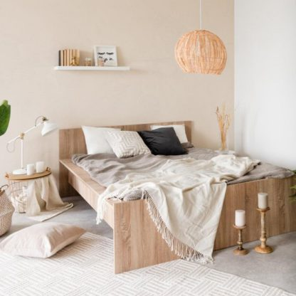 An Image of Aquarius Wooden King Size Bed In Sonoma Oak