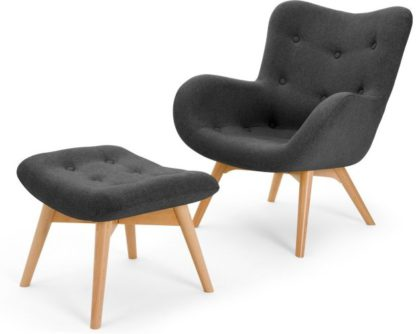 An Image of Doris Accent Armchair and Footstool, Shetland Slate