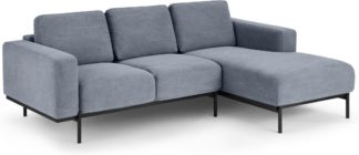 An Image of Jarrod Right Hand facing Chaise End Corner Sofa, Washed Blue Cotton