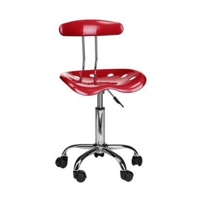An Image of Hanoi Office Chair In Red ABS With Chrome Base And 5 Wheels