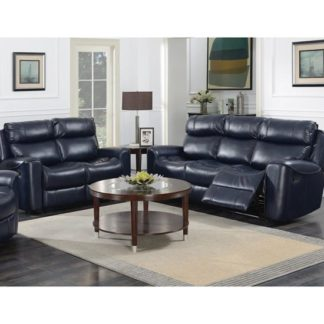 An Image of Mebsuta Leather 3 Seater Sofa And 2 Seater Sofa Suite In Navy