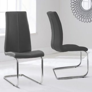 An Image of Naos Grey PU Leather Dining Chairs In Pair With Hooped Leg