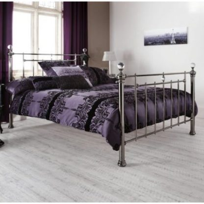 An Image of Clara Precious Metal Double Bed In Black Nickel