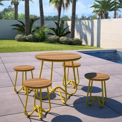 An Image of Novogratz Bobbi Bistro Set In Yellow With 4 Stools