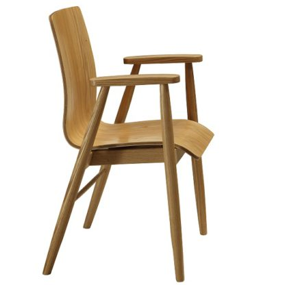 An Image of Worcester Home Office Chair In Natural Ash With Armrests