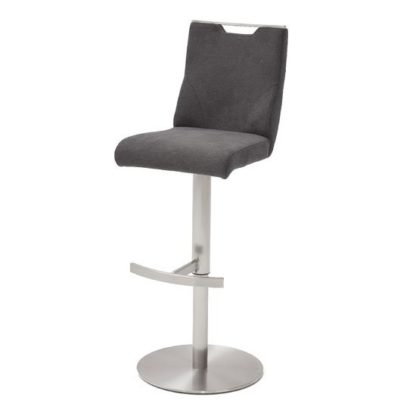 An Image of Jiulia Fabric Bar Stool In Anthracite With Steel Base