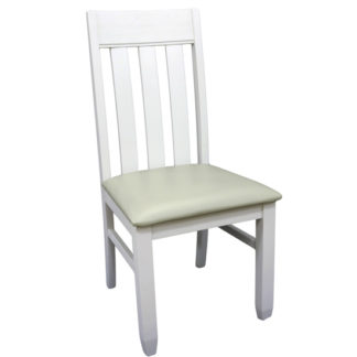 An Image of Ohio Slat Back Padded Dining Chair In Painted White