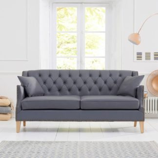 An Image of Kosmo 3 Seater Sofa In Grey Leather With Natural Ash Legs