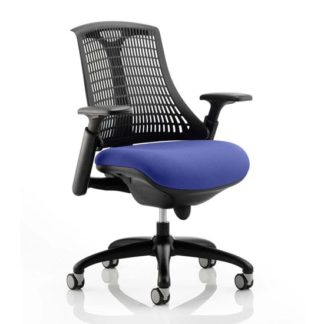 An Image of Flex Task Black Back Office Chair With Stevia Blue Seat