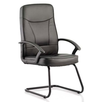 An Image of Blitz Leather Cantilever Visitor Chair In Black With Arms